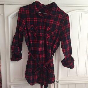 Red black & navy plaid cotton tunic button down